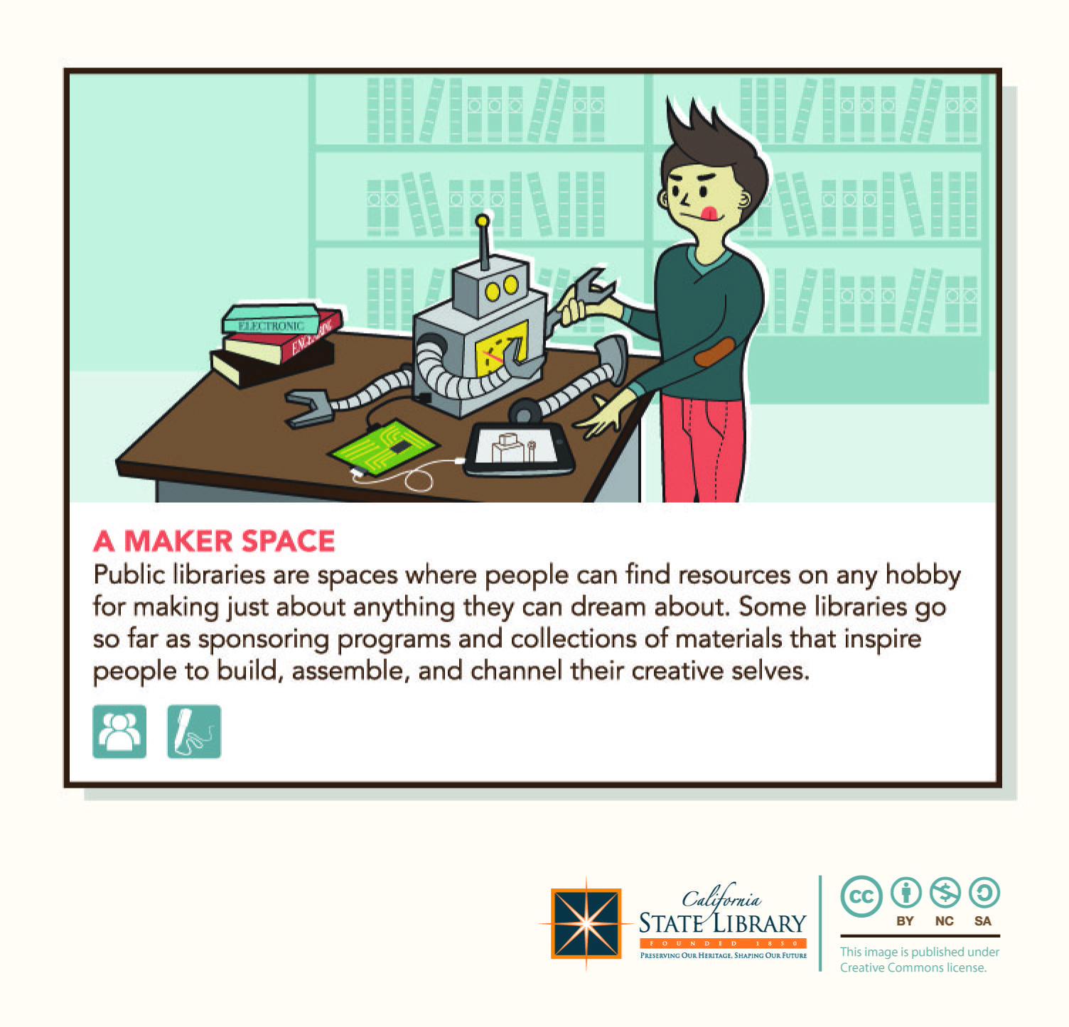 A maker space public libraries are spaces where people can find resources on any hobby