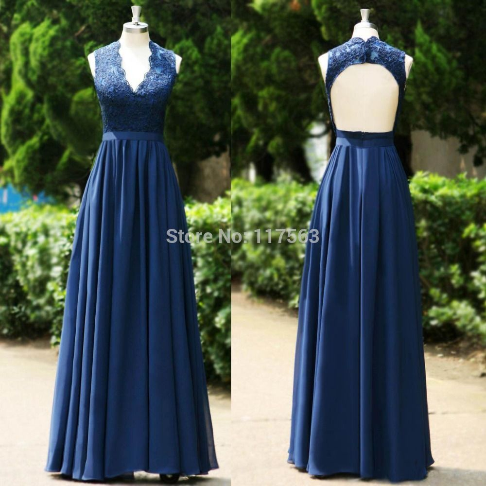 Free shipping navy blue v neck lace dress backless formal long gowns