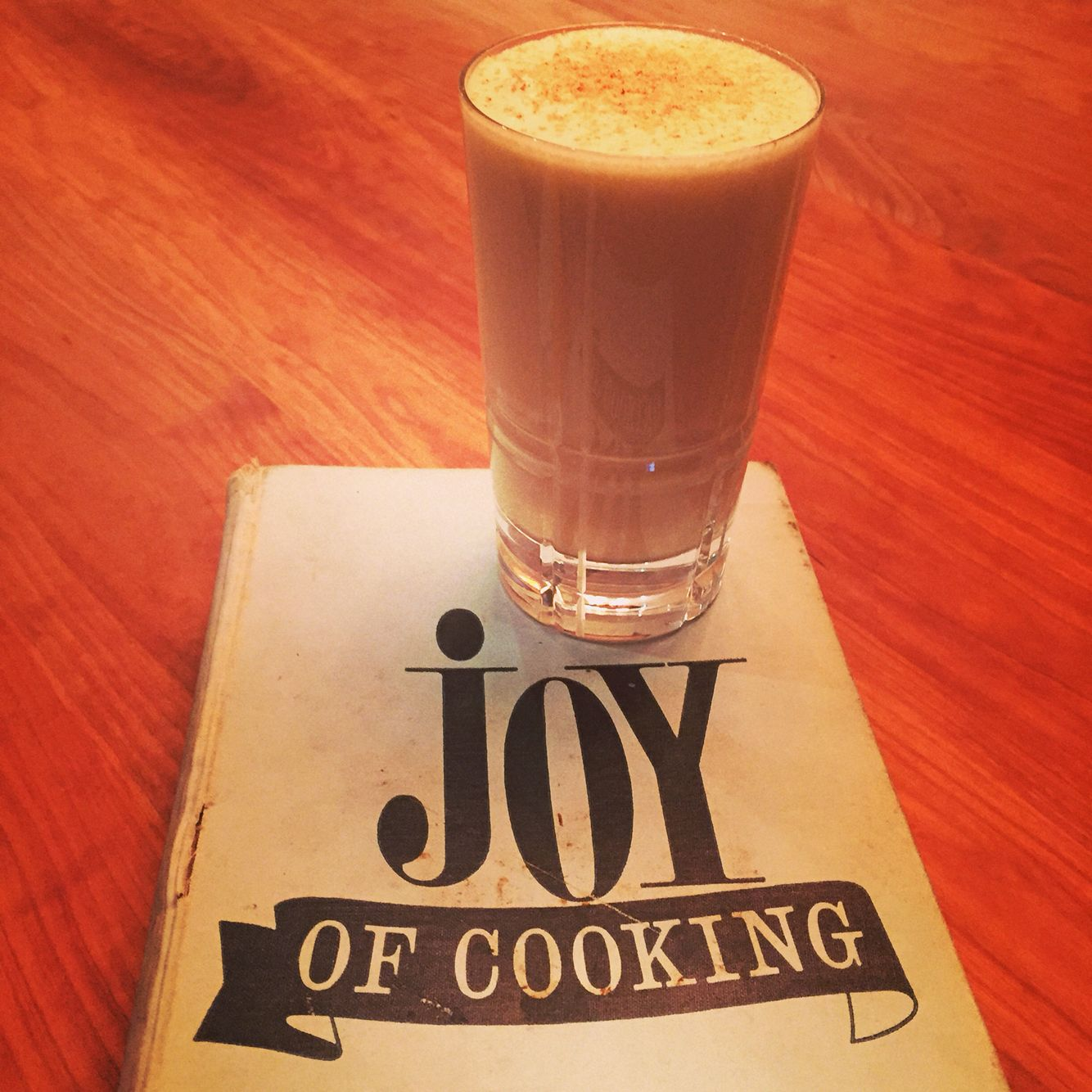Eggnog (medium thick): In a small bowl, beat 1 egg yolk until light. Beat in slowly: 1 T sugar, 1/4 c cream, 1/8 to 1/4 c rum/brandy/whiskey, a few grains salt. Whip 1 egg white separately until stiff. Fold white lightly into other ingredients. Transfer to punch glass and garnish with grated nutmeg. (From the Joy of Cooking, 1964)