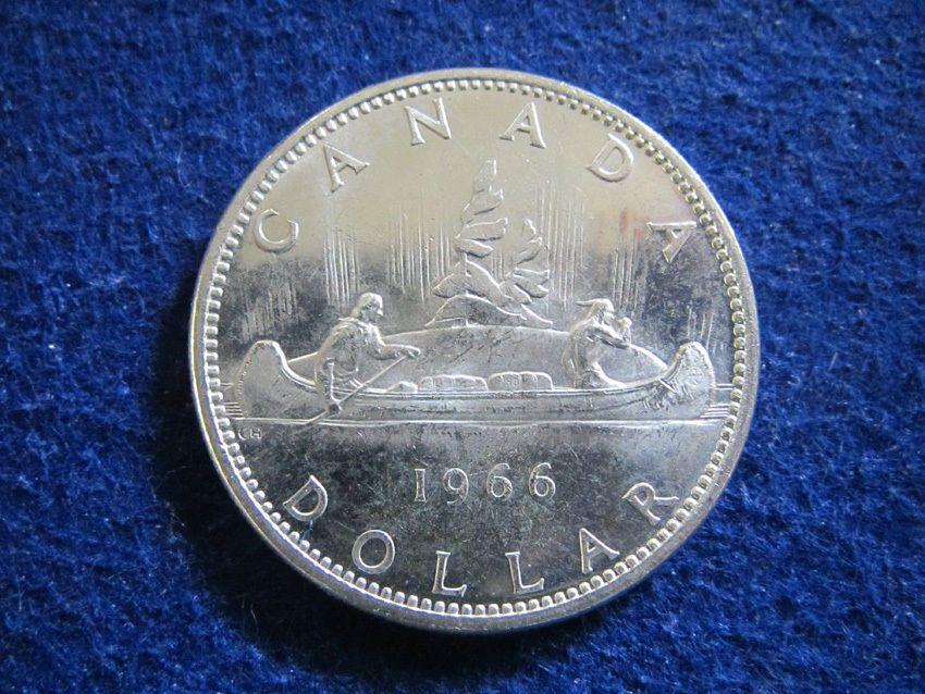 1966 Canada Silver Dollar Lt Hazy Toned Bright Uncirc Free U S Shipping Silver Dollar Silver Free