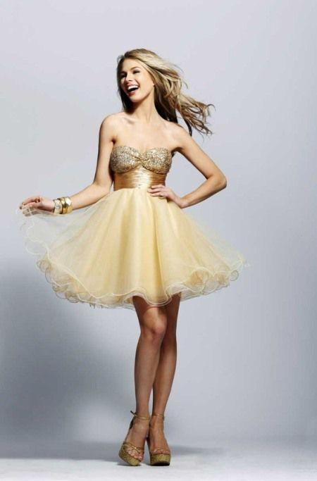 9ffded04a7 Tu Vestido de 15 Años  Vestidos de 15 Años Color Dorado Corto