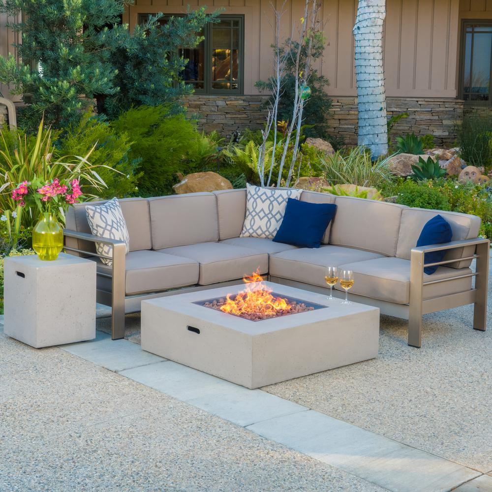 Noble House Cape Coral Khaki 5 Piece Aluminum Outdoor Sectional Set With Khaki Cushions 11885 With Images Outdoor Fire Table Fire Table Outdoor Fire
