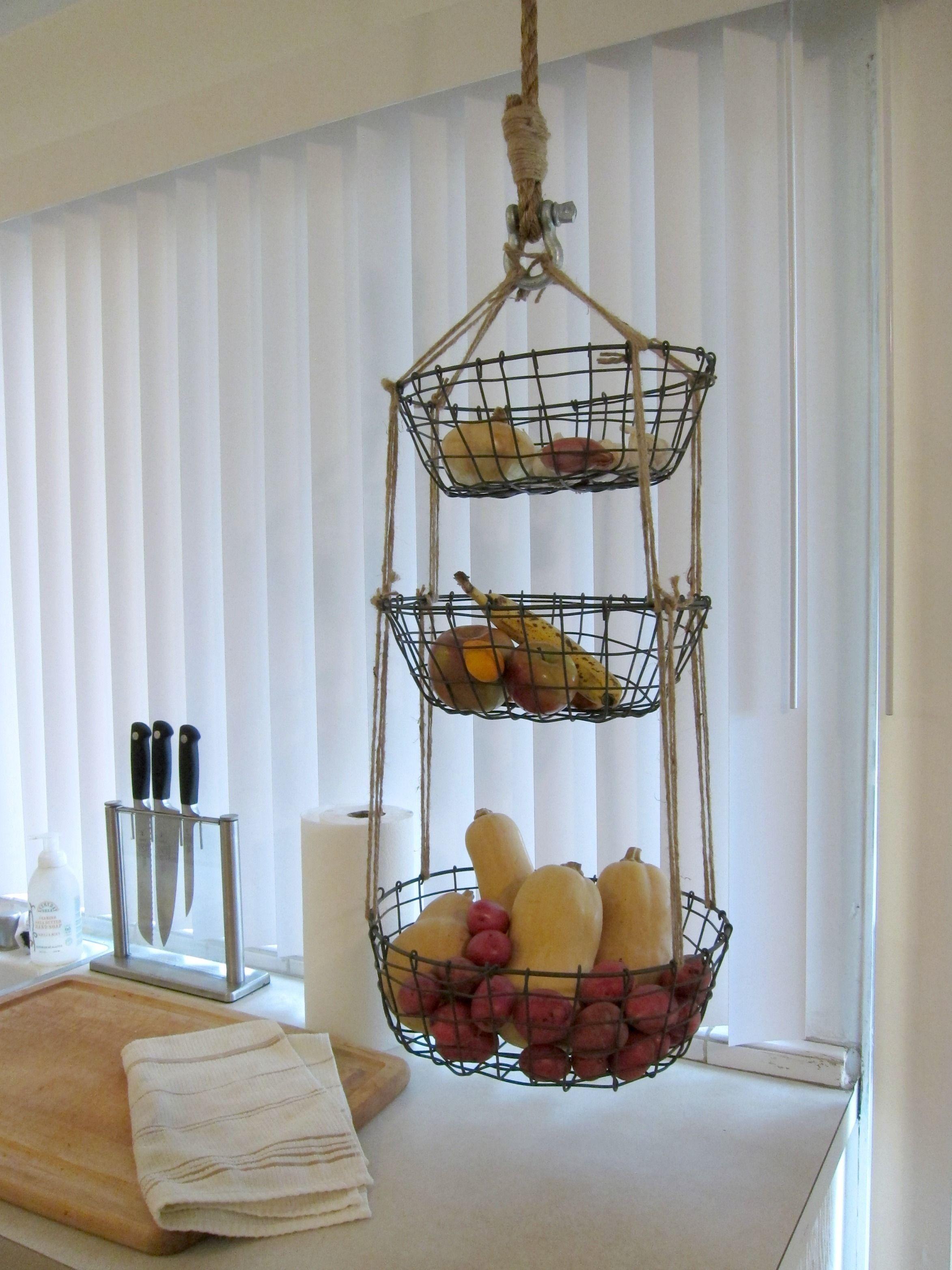 19 Diy Hanging Fruit Basket Ideas Hanging Baskets Kitchen