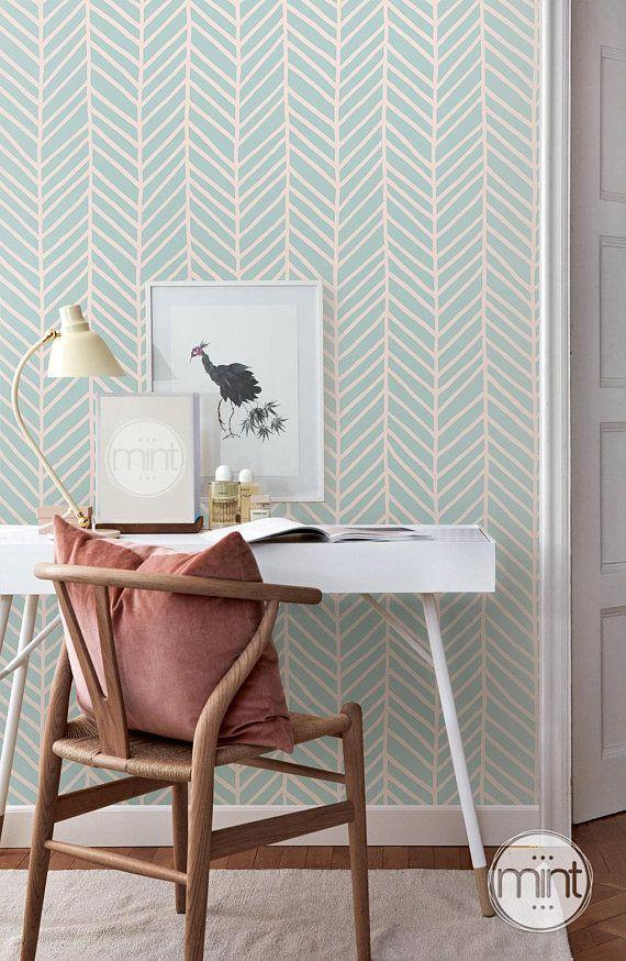 Mint Green Geometric Wallpaper Pink Removable Wallpaper Girls Bedroom Wallpaper Green Wallpaper Bedroom Mint Walls