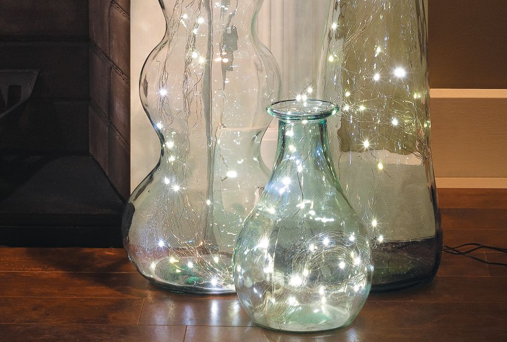 Festive Light Display Vase With Lights Glass Vases Centerpieces Light Display