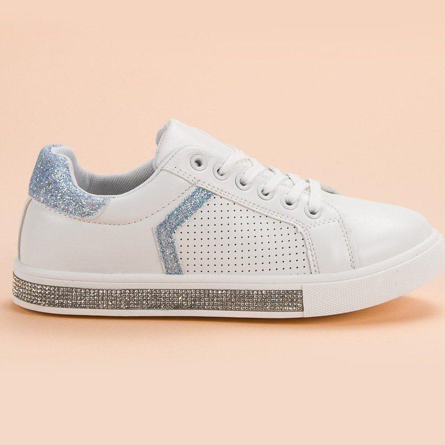 Ideal Shoes Buty Sportowe Z Cyrkoniami Biale Nike Air Force Sneaker Shoes Air Force Sneakers