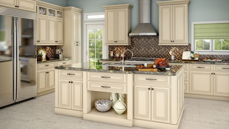 Off white cabinets with brown glaze antique white off for Antique glazed kitchen cabinets