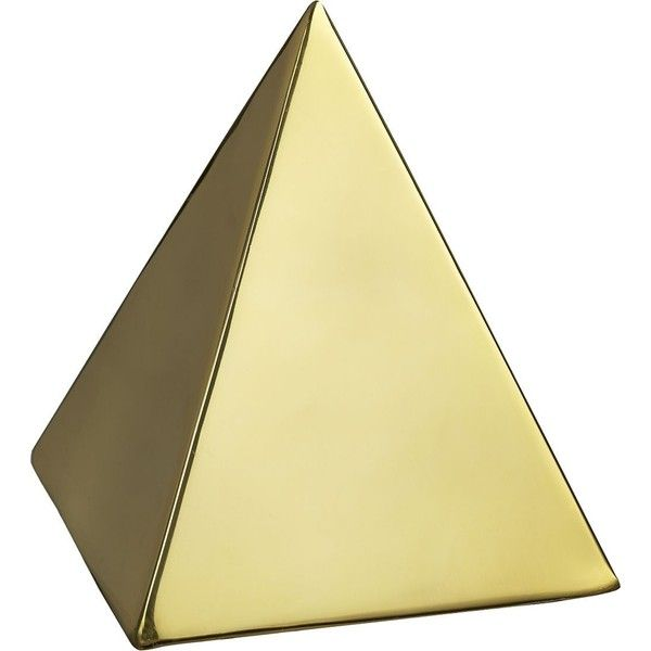 CB2 Tut Gold Pyramid Object found on Polyvore featuring home, home decor, geometric home decor, gold home accessories, gold home decor and cb2