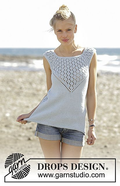 Knitted Top With Raglan And Lace Pattern Worked Top Down In Drops