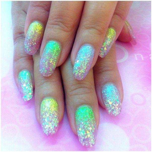 iridescent glitter nails face