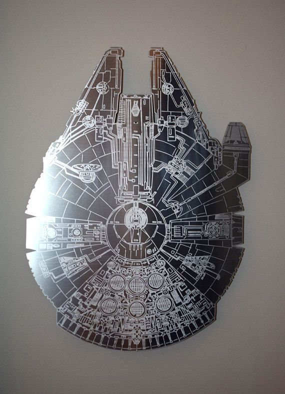 STAR WARS Millennium Falcon aluminum floating metal wall art jumps off the  wall right at you - STAR WARS Millennium Falcon Aluminum Floating Metal Wall Art Jumps