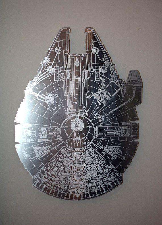 Millennium Falcon Star Wars Floating Metal Wall Art