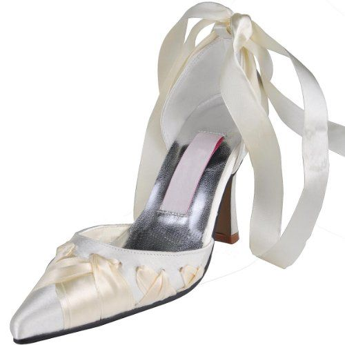 Minitoo GYMZ680 Womens Stiletto high Heel pointed Toe satin Ribbon Evening Party Bridal Wedding Shoes $58.99