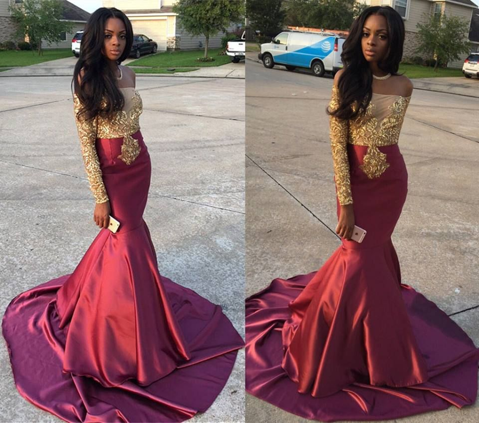 Lace long sleeve wine prom dress