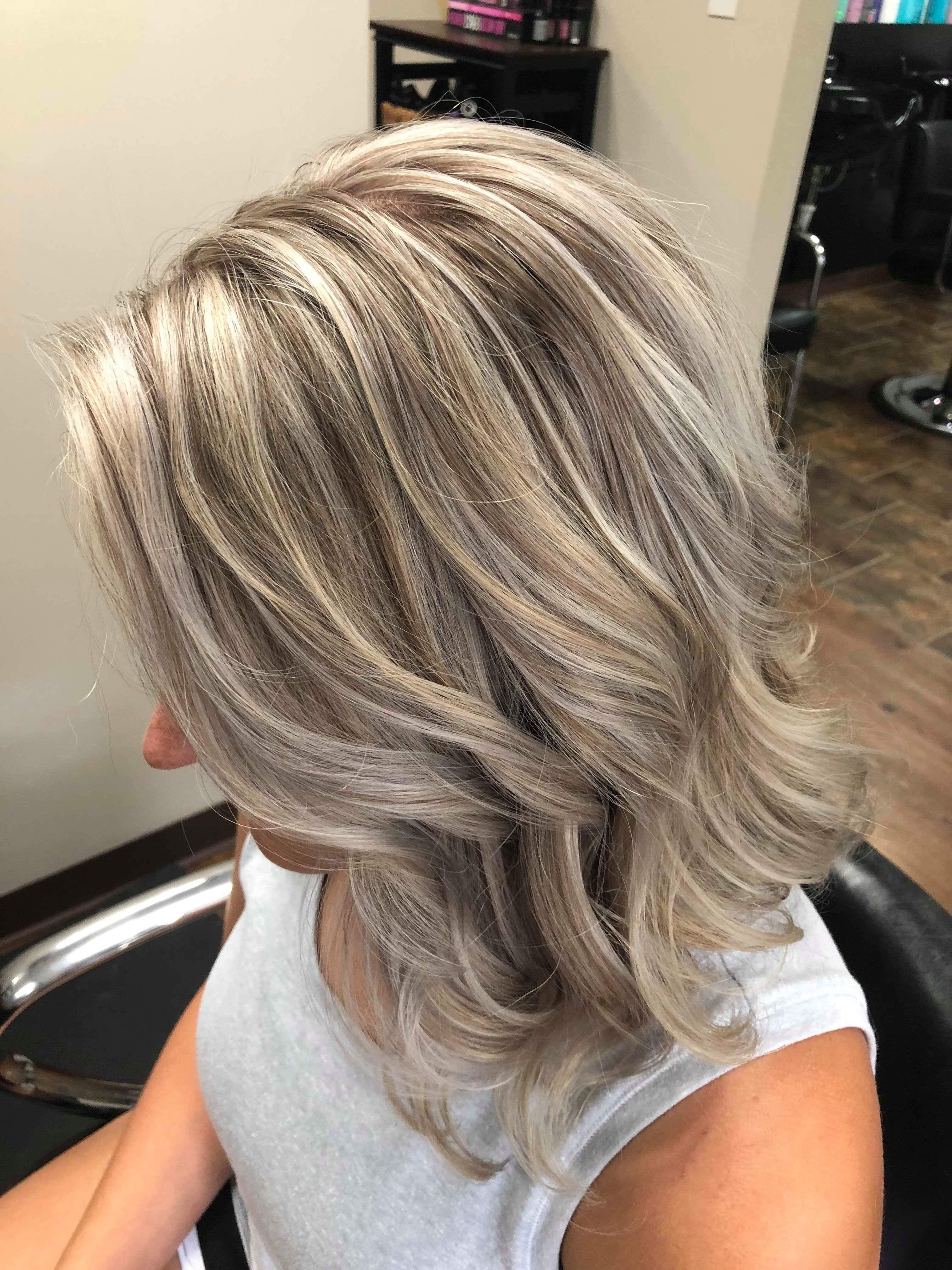 Blonde Lob Full Foil Gray Hair Highlights Grey Blonde Hair