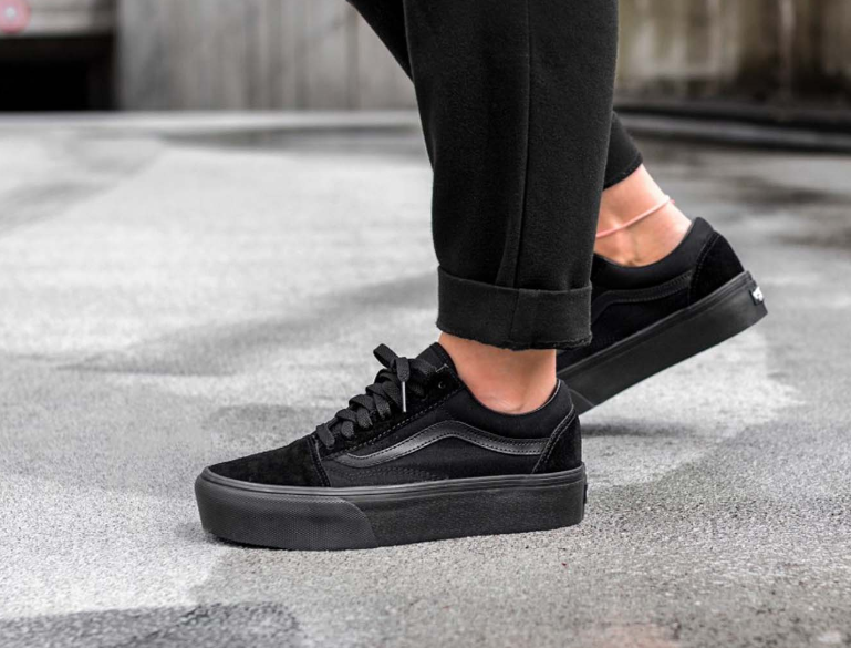 b969126187 VANS OLD SKOOL PLATFORM BLACK CANVAS SUEDE LOW VN0A3B3UBKA