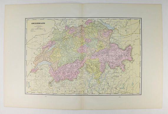 1891 switzerland map atlantic ocean islands vintage map 1891 switzerland map atlantic ocean islands vintage map switzerland travel map swiss gumiabroncs Choice Image