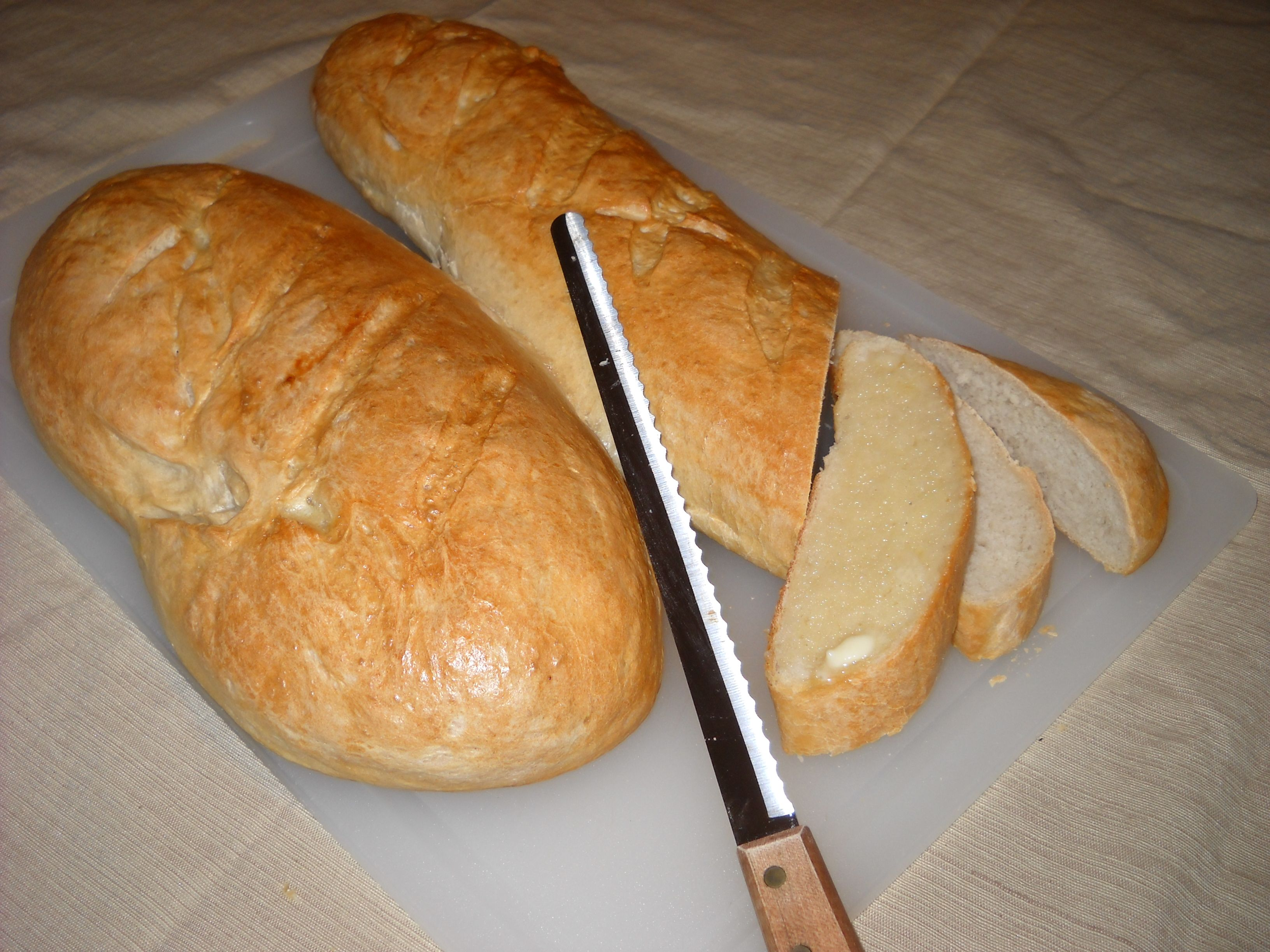 Homemade french bread. My family loves it when I make it ...