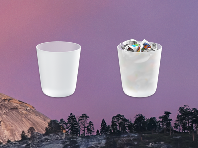 Beautiful trash can icon Mac os, Glass, Magnifying glass
