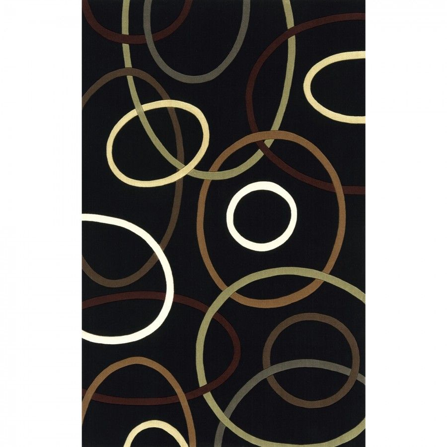 Momeni elements black contemporary new zealand wool rug