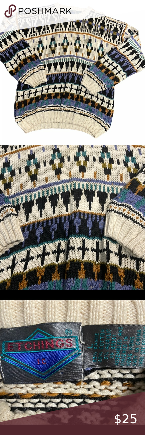 80s/90s Vtg Oversized Colorful Grandpa Sweater