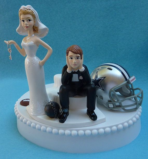 Wedding Cake Topper Dallas Cowboys Football Themed Ball By