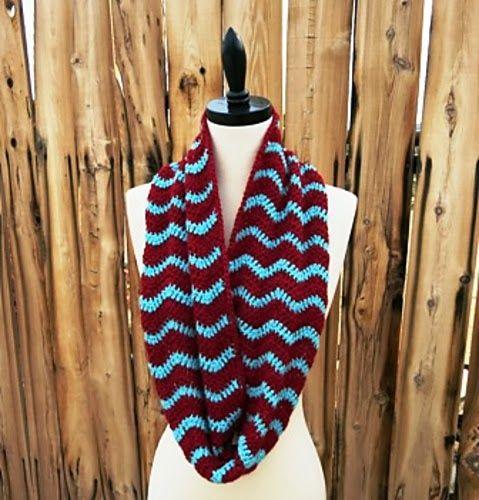 libre patrón de chevron crochet bufanda infinito   Crochet ...