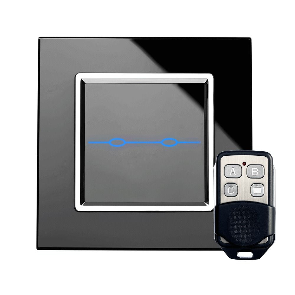 Glass Switch Touch & Remote Light Switch 2 Gang 1 Way Black | Glass ...