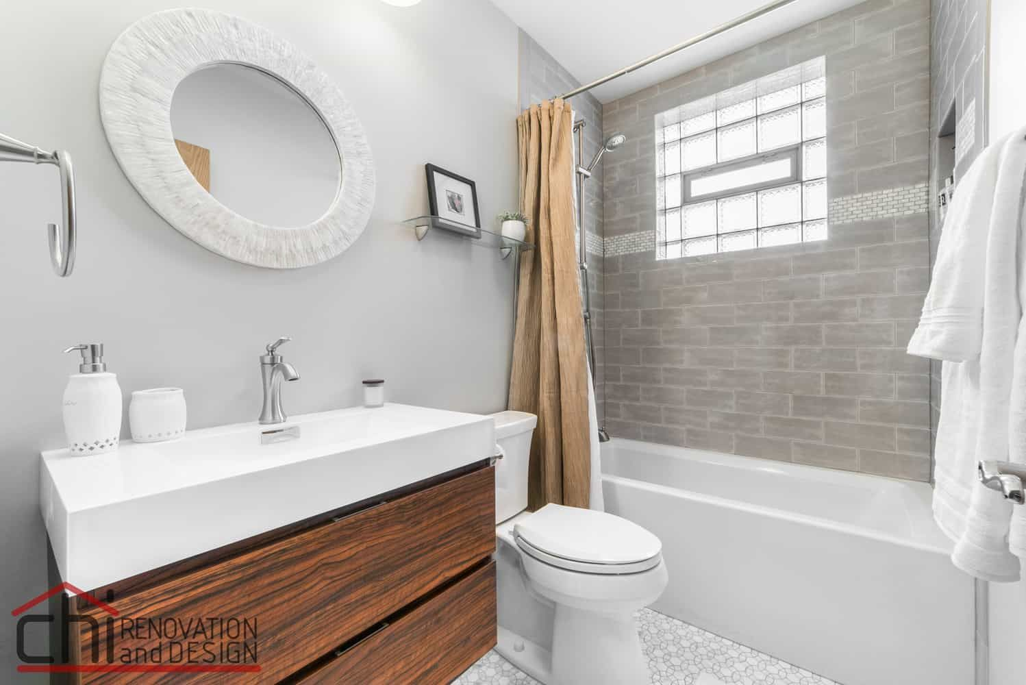 This Chicago Basement Bathroom Aimed To Be Swanky Yet Affordable The Fresh Whites Bathroom Remodel Small Budget Bathrooms Remodel Basement Bathroom Remodeling