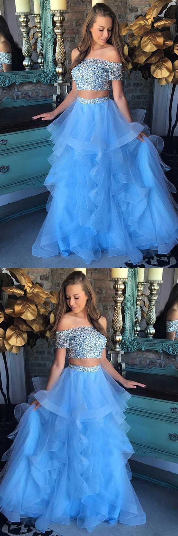 Two Piece Off-the-Shoulder Blue Tiered Organza Prom Dress with ...