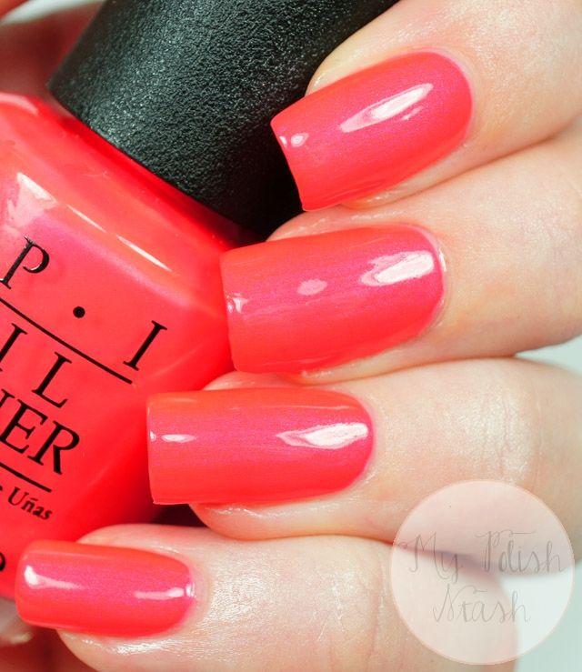 Opi Down To The Core Al Nail Polish Neon Coral Nails Coral