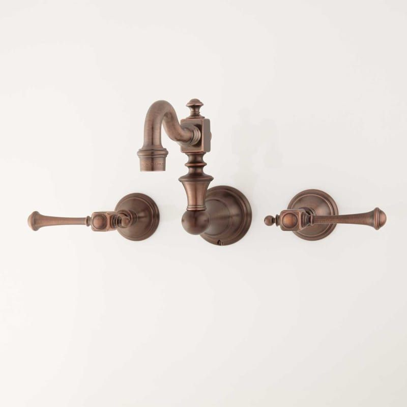 Photo of Signature Hardware 423761 Oil Rubbed Bronze Vintage 1.2 GPM Double Handle Wall Mount Kitchen Faucet