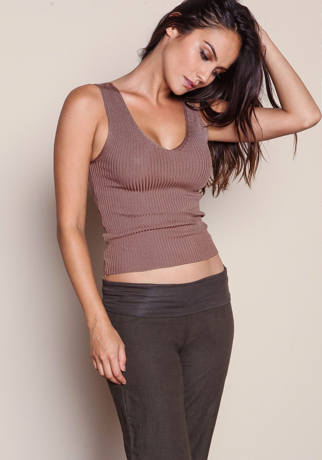 Mocha Ribbed Knit V Neck Top - LoveCulture.com ♡