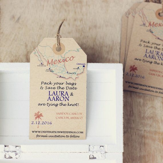 Mexico Kraft Save The Date Luggage Tag Magnet With Passport Stamp Destination Wedding Invitation