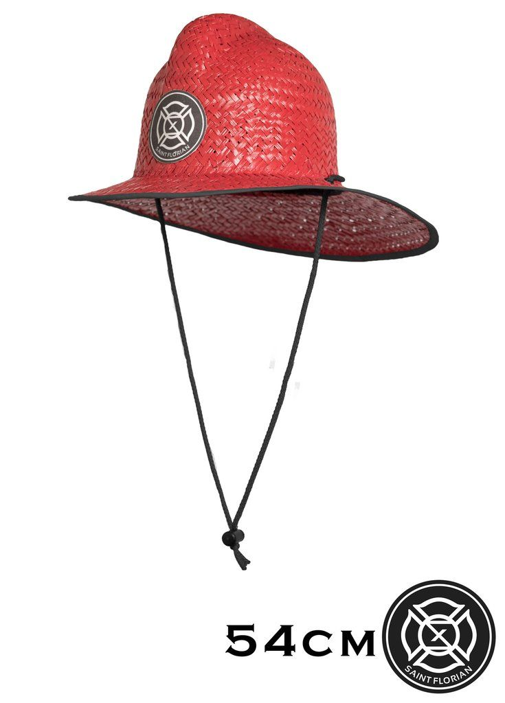 Original Red Straw Firefighter Hat - Kids 54cm Our patented hand made palm  Straw Firefighter Hat features a flex fit design and also includes a  removable ... 9dc2e6c7795c