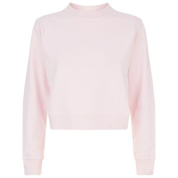 Pinko Cropped Love Me Tender Sweatshirt (€270) ❤ liked on Polyvore featuring tops, hoodies, sweatshirts, pink top, pink sweatshirts, crop top, retro tops and pinko tops