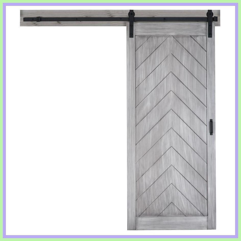 36 inches x 84 inches,White TENONER Sliding Barn Door with Barn Door Hardware Kit,DIY Barn Door. Herringbone Alder Sliding Barn Door