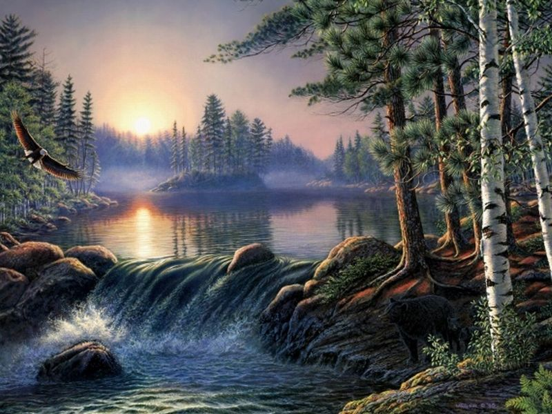 Most beautiful waterfalls painting in oils photography for Beautiful drawings and paintings
