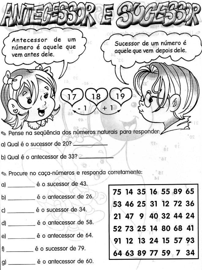Antecessor E Sucessor Com Imagens Atividades De Alfabetizacao