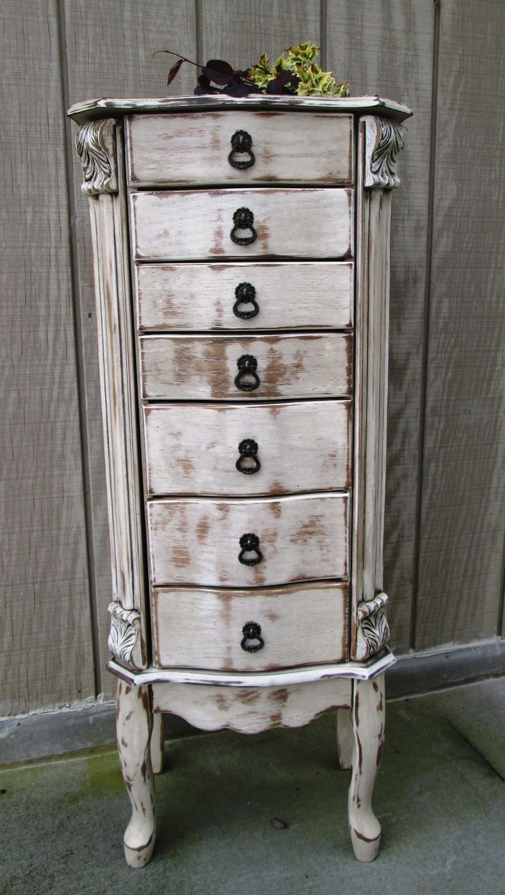 Shabby Chic Antique White Distressed Jewelry Armoire Pink lining