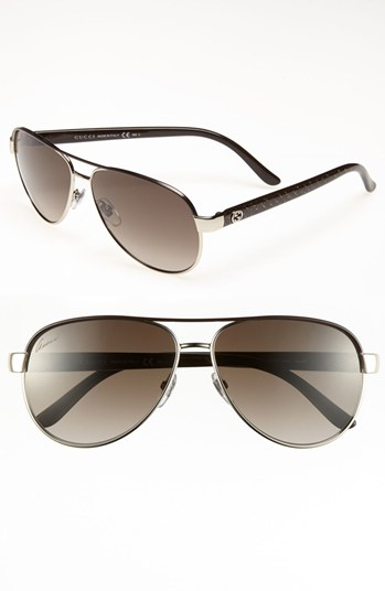 fe577bfbd95 Gucci Metal 58mm Aviator Sunglasses available at  Nordstrom Gucci Sunglasses