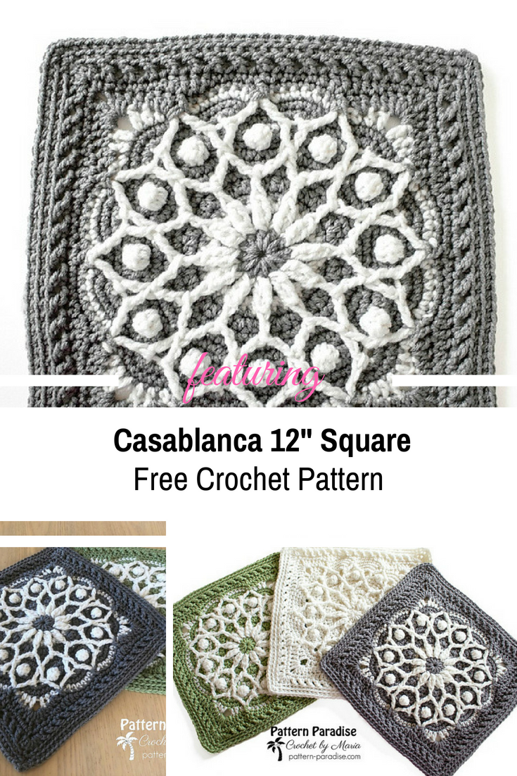 Lovely 12″ Square With Overlay Crochet To Create The 3D Effect [Free ...