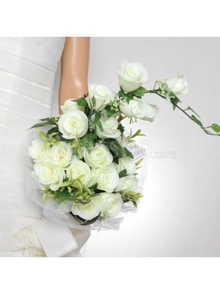 Discount Tulle Wrapped Ivory Rose Wedding Bouquet for Wedding Party MS16JQ174 Available Online