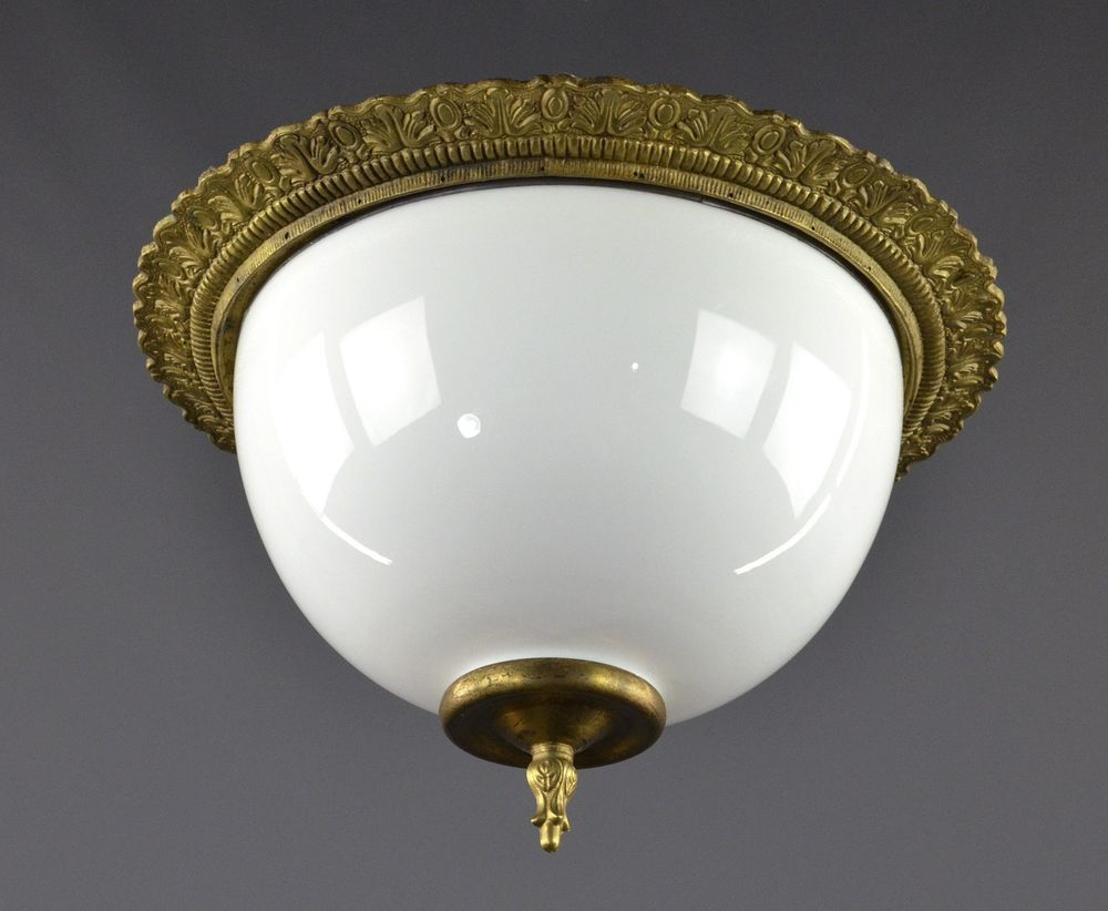 Italian Flush Mounted Light C1920 Vintage Antique French Ornate Ceiling Light French Antiques Ceiling Lights Flush Mount Lighting