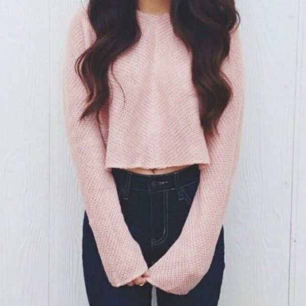 8455a7c7d85df6 jeans sweater dusty pink cropped sweater t-shirt kling coat high waisted  jeans sweater crop top high waste navy skinny pink cropped