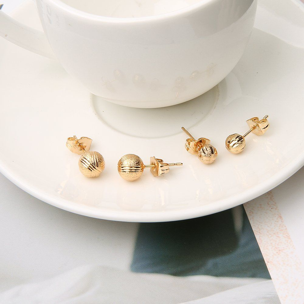 18k Gold Ball Earrings Nickel Free