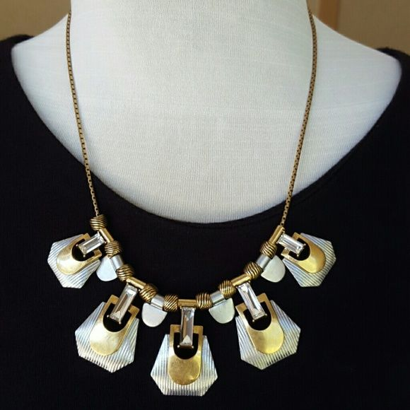 """Factory Mixed-Metals Necklace Zinc casting, acrylic stones, brass chain, cubic zirconia. Light gold ox plating. Length: 18"""" with 3"""" extender chain for adjustable length. Brand new! Comes with dust bag. J. Crew Jewelry Necklaces"""