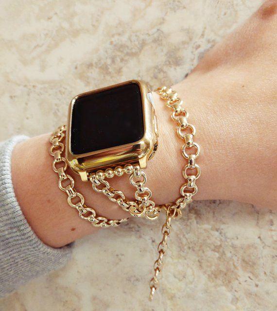 Gold Chain Apple Watch Band Sparkling Elegant Unis