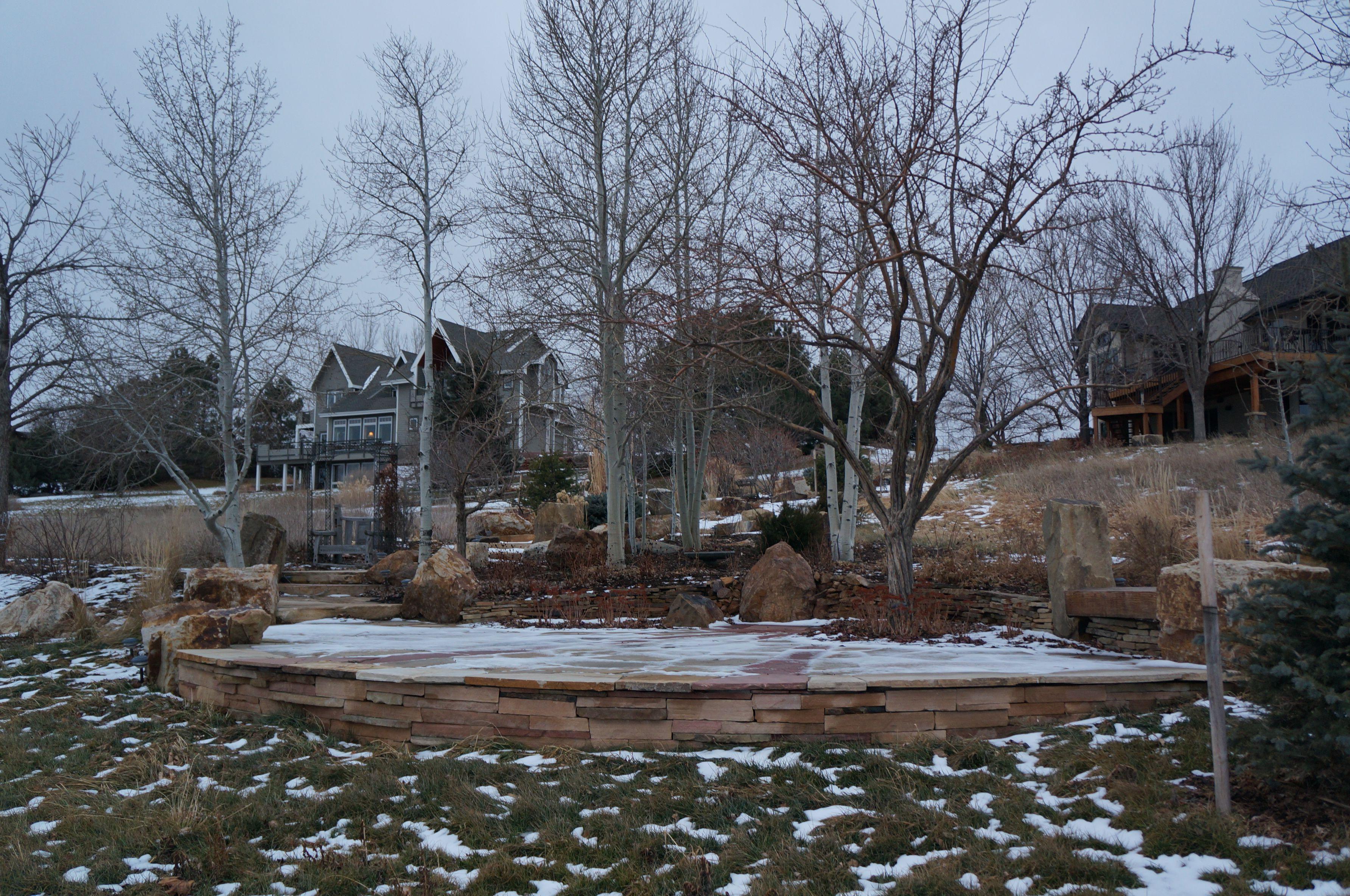 patio hardscape winter landscape gardening landscape