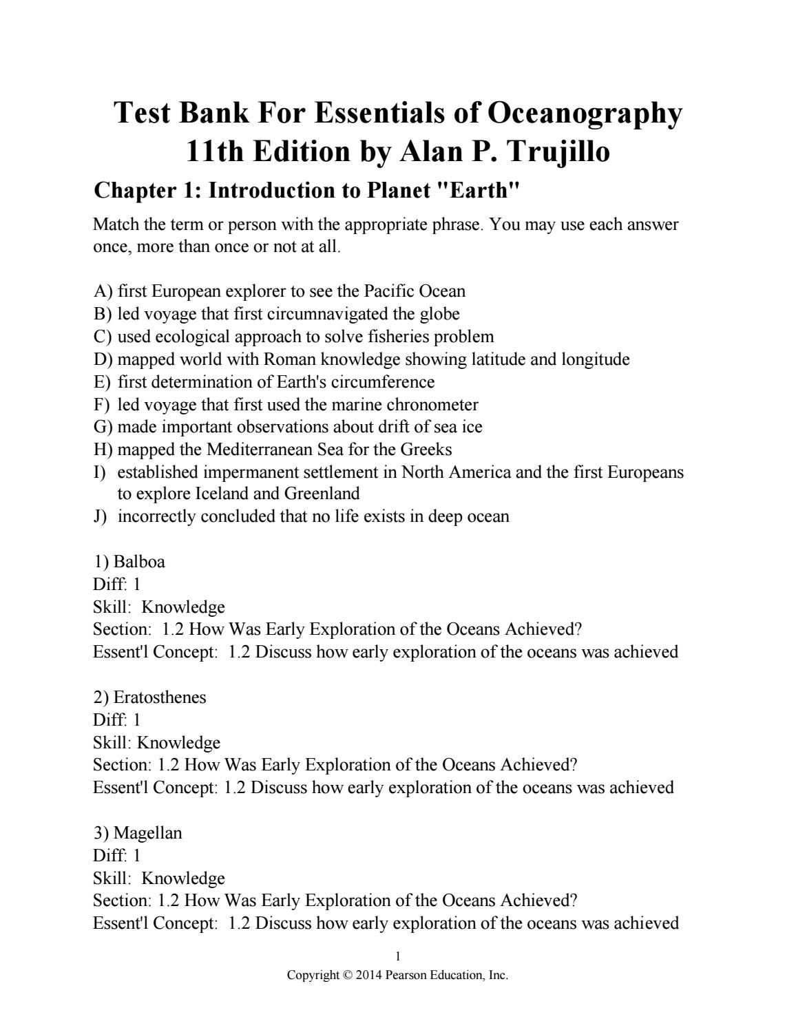 Link full download test bank for essentials of oceanography 11th edition by  alan p trujillo
